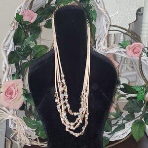 4 Strand Rawhide Swarovski Pearl Necklace